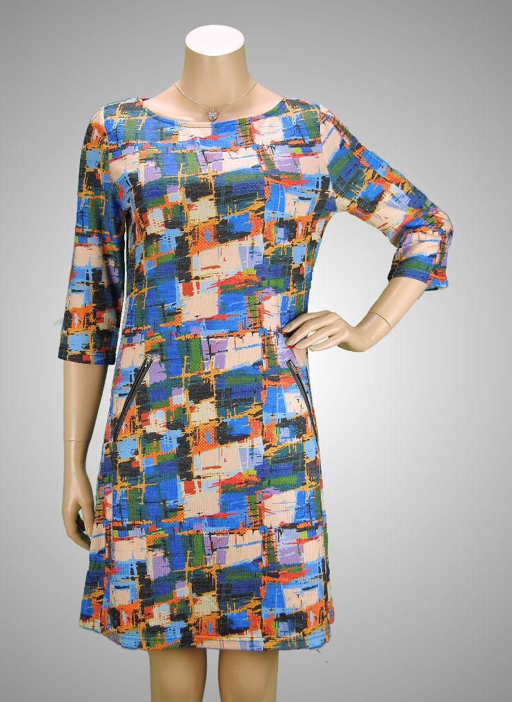 VEGAS Paris Kleid 3/4-Arm Blau Bunt - super schönes Muster ...