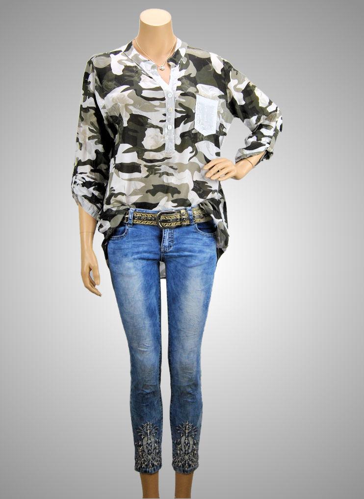 MADE IN ITALY Fischerhemd Longbluse Sommer Bluse Viskose uni oliv 36 38 40