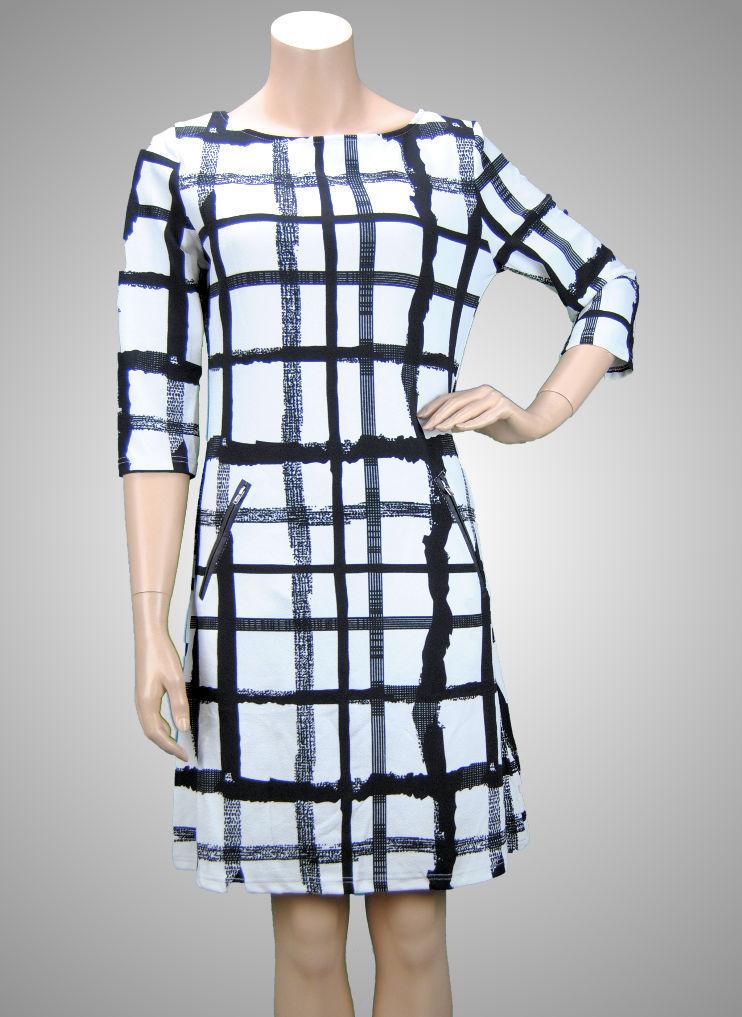 VEGAS Paris Kleid 3/4-Arm schwarz weiß Quadrate - schickes ...