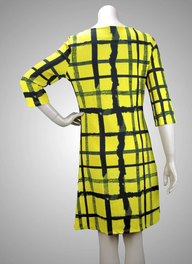 VEGAS Paris Kleid 3/4-Arm schwarz gelb Quadrate - schickes ...