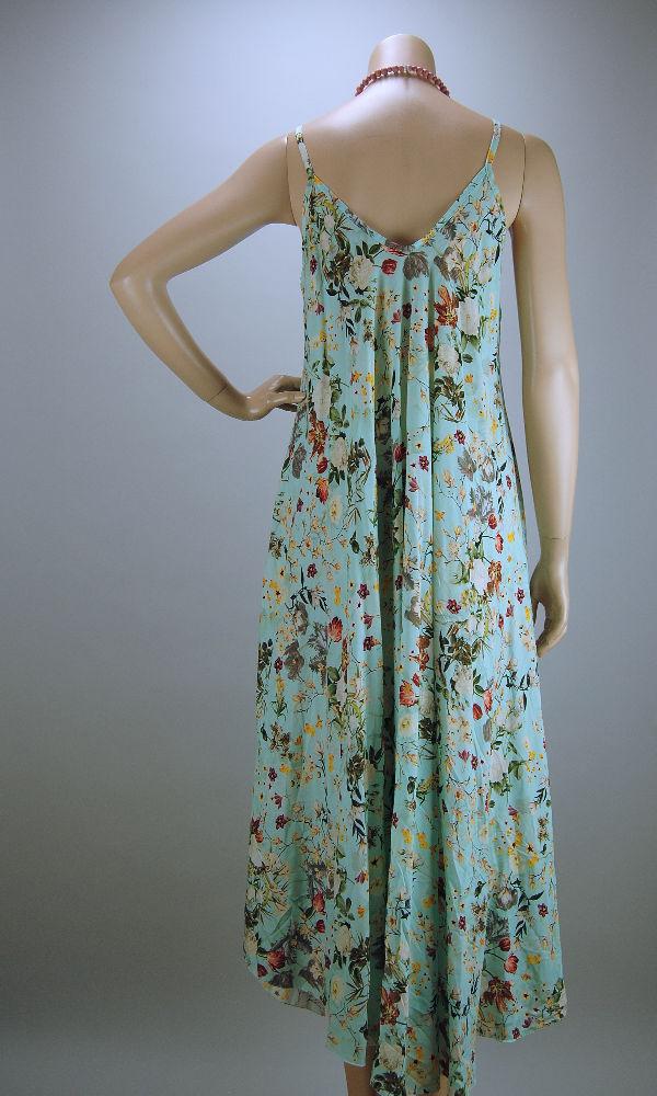 ITALY Sommer Kleid lang Hängerchen Viskose mint mit Blumen ...