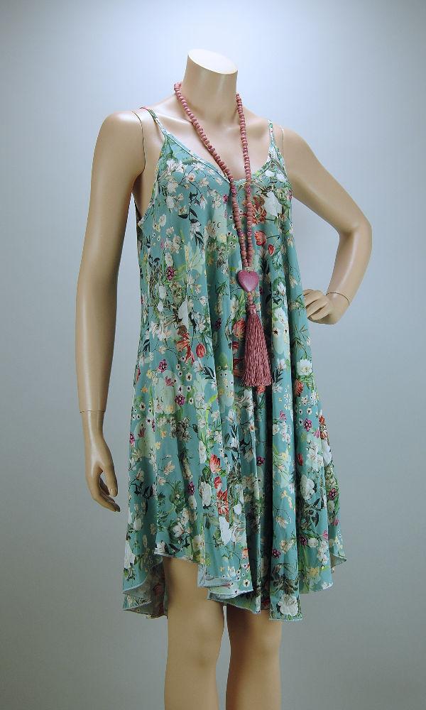 ITALY Sommer Kleid kurz Hängerchen Viskose türkis mit ...