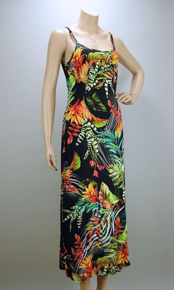 ANGELLE MILAN Sommer Kleid lang Tropical Black Hängerchen ...